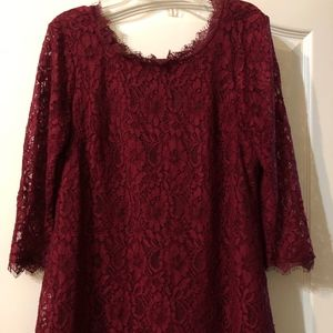 Motherhood Maternity Dark Red Lace Top M